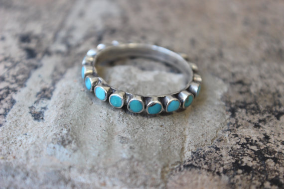 Turquoise Eternity RING / Vintage Sterling Turquoise Band / Southwest Silver Size 11 Ring by SouthwestVintage