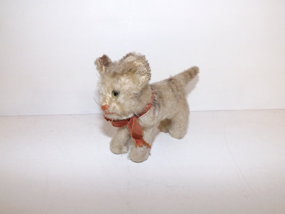 Vintage 1950s small Steiff cat kitten mohair straw filled with ribbon bow by 4getmenotshop