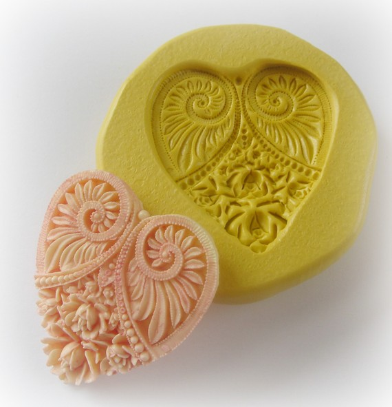 Heart Mold Mould Resin Clay Fondant Wax Soap Miniature Sweet Flower Victorian Jewelry Charms Flexible Molds by WhysperFairy