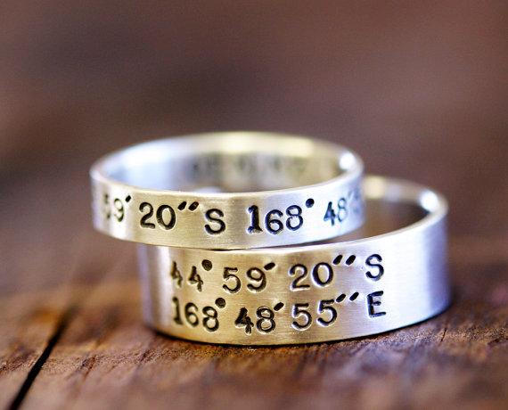 Wedding Ring Set Latitude and Longitude Rings (E0278) by monkeysalwayslook