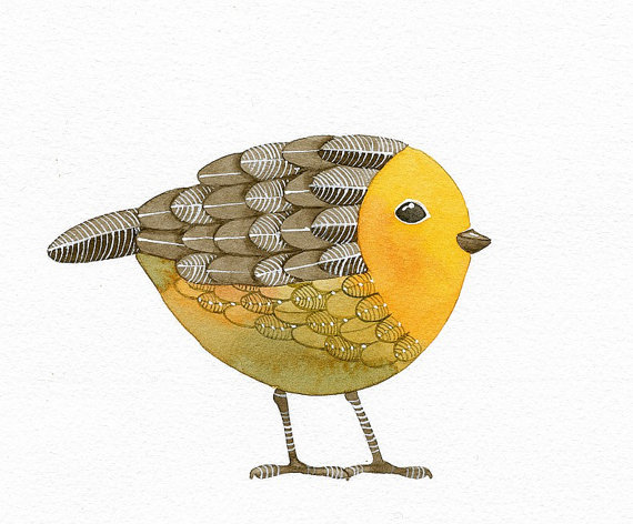 Bird No.15 - Bird Art Print, Limited Edition - Watercolor Painting by Lorisworld by lorisworld