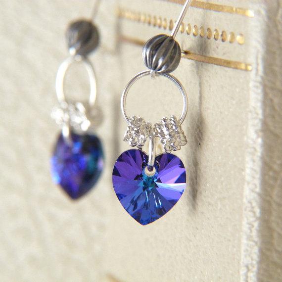 Crystal Heaer Earrings - Blue Purple Earrings - Swarovski Crystal Heart Dangle Earrings - Glitter Earrings - Romantic Jewelry by Lightborn