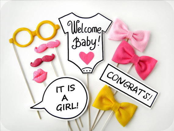 BABY SHOWER GIRL Photobooth Props - Baby Girl Plastic Photo booth Party Props - Family, friends, baby party - Set of 10 props by MisterMustache