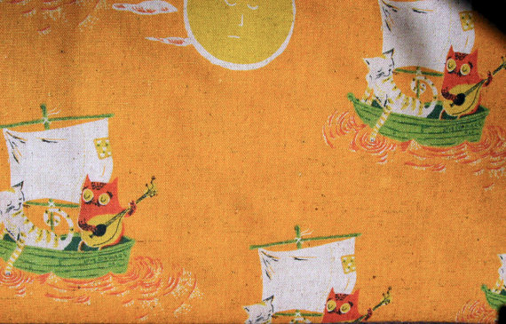 Heather Ross Far Far Away II Owl and Pussycat Fabric in Gold by Kokka OOP by fabricsilove