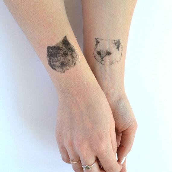 temporary tattoos – set of three fake cat tatts – 7designs to choose ...