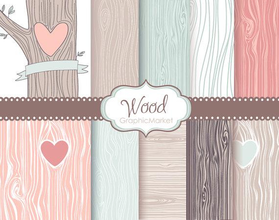 Wood Grain Digital Paper Pack Rustic Wood Pattern Native