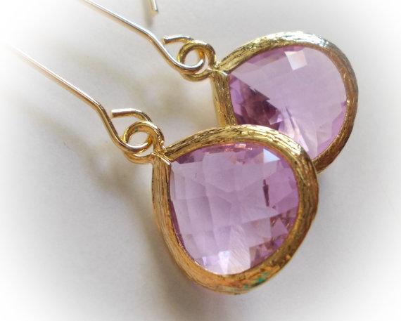 Amethyst drop long glass earrings lavender elegant rose cut faceted extra long fancy dangle drop earrings for women rosecut baroque marquise by karmelidesigns