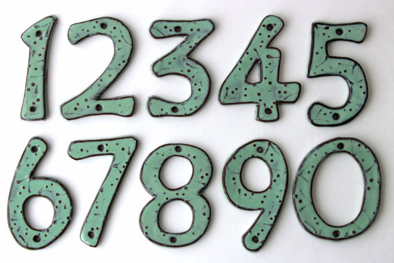 Outdoor House Numbers - SET of 4 - Aqua Mist Color - Ceramic Letters - MADE to ORDER by BackBayPottery