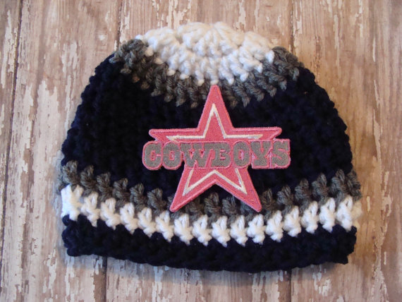 Dallas Cowboys Pink Star Baby Hat 0 3 Months Crochet Knit Shower