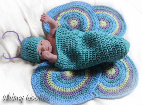 Crochet Photo Prop Pattern: 'Lil' Luv Bug 'Newborn, Crochet Hat, Cocoon & Wings by whimsywoolies