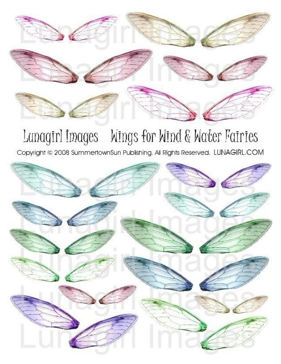 FAIRY WINGS digital collage sheet DOWNLOAD altered art fairies printable fantasy magical ephemera elements for crafts blue green purple pink by Lunagirl