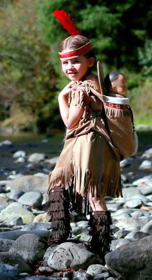 Dress / Papoose set Native American inspired Indian Girl pretend dress up fun set for children size 2 through 11 by MainstreetX