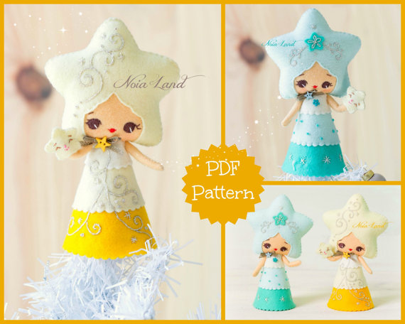 PDF Pattern. Christmas Star doll. by Noialand