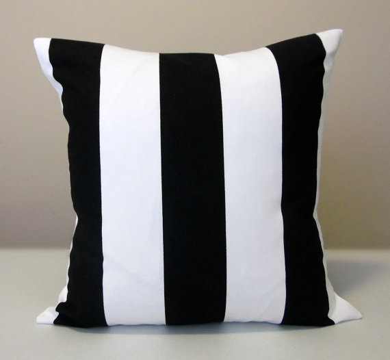 Black and White Striped Pillow Cover, Accent Pillow, Toss Pillow, Vertical Stripe, Various Sizes by SewPanache