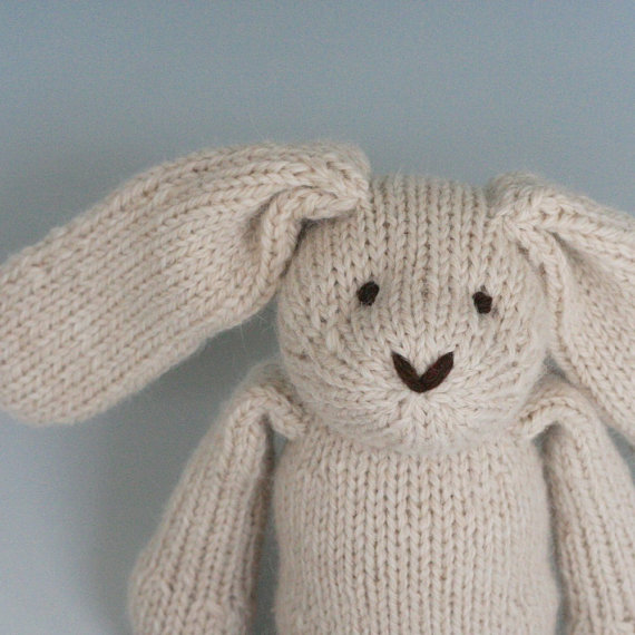 Almond Rabbit – Alpaca and Wool – Hand Knit Eco Friendly Stuffed Animal – Classic Toy Bunny, 10 & quot; tall by yarnmiracle