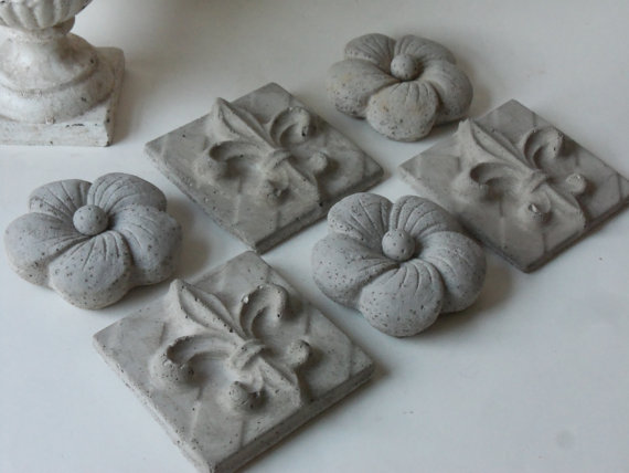 3 cement flowers 3 fleur de lis tiles by unpotpourri