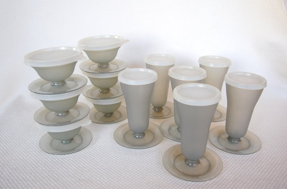 Set of Vintage Tupperware Parfait or Dessert Cups or Whole Set of 12 in Smoke Grey Color Complete with Seals by FunkyJunkyVintage