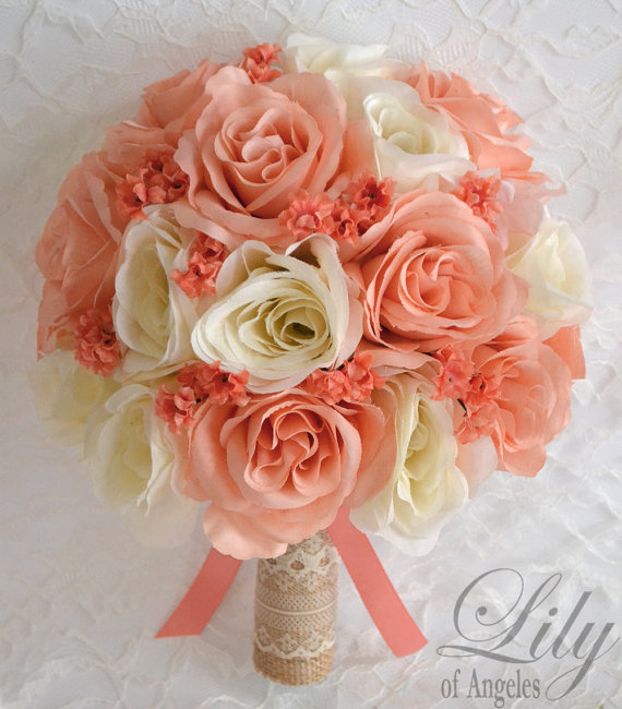 17 Piece Package Silk Flowers Wedding Bridal Bouquet Bride Artificial Bouquets CORAL PEACH IVORY Rustic Burlap Lace & quot; Lily of Angeles & quot; PECO01 by LilyOfAngeles