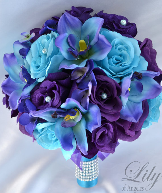 17 Piece Package Wedding Bridal Bouquet Silk Flowers Bouquets Maid Bridesmaid PURPLE TURQUOISE MALIBU White Orchid & quot; Lily of Angeles TUPU07 by LilyOfAngeles