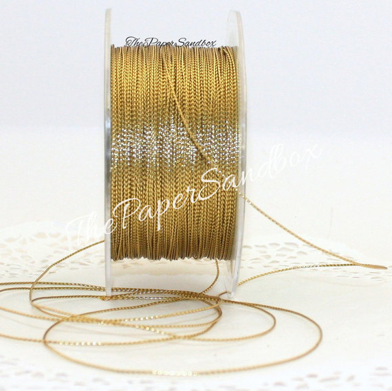 Gold Metallic Twine String, 10 yards, Weddings, Crafts, Gift Wrap, Bakery Twine, Christmas Ribbon, Party Supplies, Invitations, Trim by ThePaperSandbox
