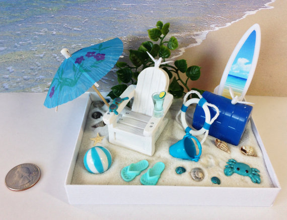 Desktop Beach / Choose Your Colors / Relaxing Sand Therapy Miniature Terrarium / Dollscale Zen Fairy Garden / Tropical Office Gift Under 20 by carielewyn