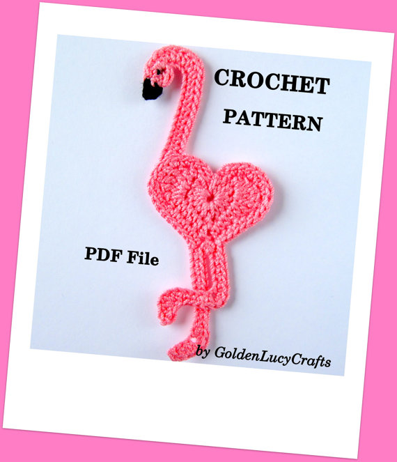 CROCHET PATTERN Flamingo Applique, PDF File, Free pattern offering by GoldenLucyCrafts