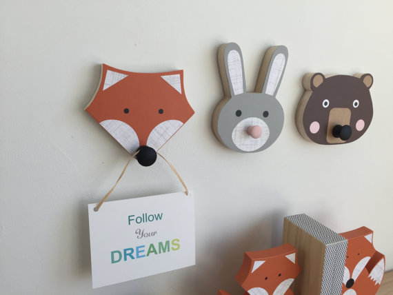 Animal Wall Hooks, Bunny, Fox, Bear, Animal Nursery Decor, Faux Taxidermy, Woodland Themed Nursery, Forest Animal Kids Decor by MapleShadeKids