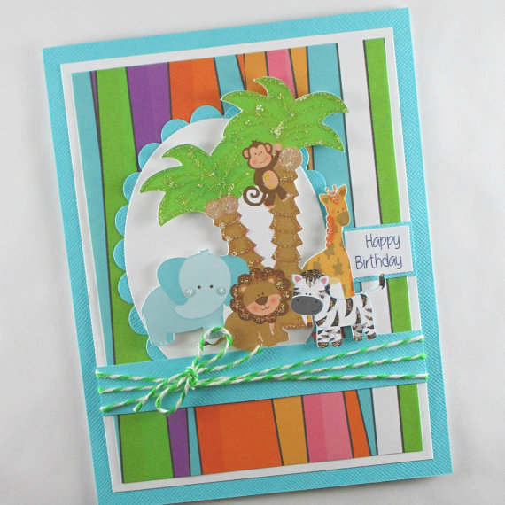 Birthday cards, safari birthday cards, 1st birthday, first birthday, boys birthday card, kids birthday cards, children's birthday cards by BellaCardCreations