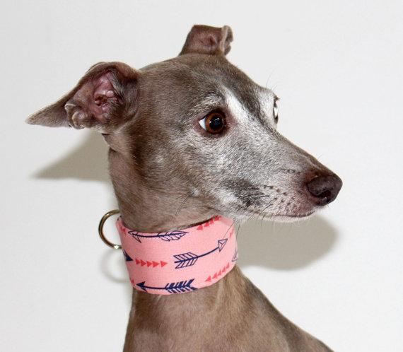 Italian Greyhound Dog Collar – Archer – Pink with Navy Arrow Design lined with Pink Satin – dog collar – martingale – Shadedmoon by Shadedmoon