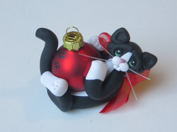 Black Tuxedo Cat Christmas Ornament Polymer Clay Art Sculpture Handcrafted by HeartOfClayGirl