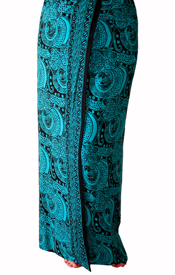 Beach Sarong Pareo Wrap Men's or Women's Beach Clothing Batik Sarong Black & Teal Swimsuit Cover Up Lavalava Men's Sarong Festival Clothes by PuaWear
