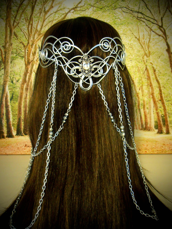 Elven Coronation Circlet - Celtic Hand Wire Wrapped - Beaded Chains - Bridal Tiara Crown Queen Art Nouveau by RefreshingDesigns