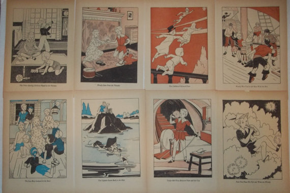 Collection of Vintage 1941 8 Paper Book Page Full Page Illustration Prints Pages by MySpecialTreasures