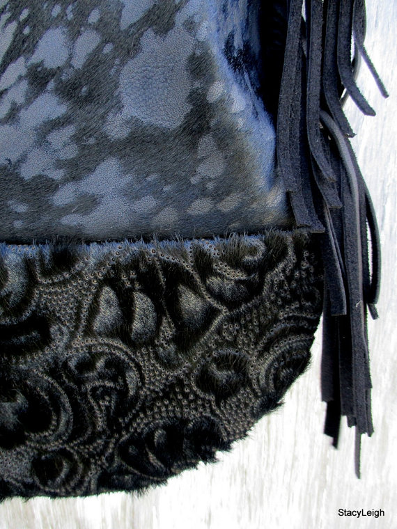 Black Acid Washed – Laser Cut – Hair On Cowhide Stingray Tote Bag by Stacy Leigh by stacyleigh