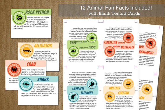 Wild Kratts Birthday Party Tented Animal Cards INSTANT DOWNLOAD - 12 fun creature facts with BLANK card included- DiY Self Printable File by jackaroodesigningco
