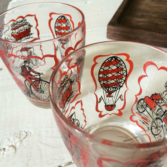 Vintage 70's juice cups juice glasses small cups glass - hot air baloon, biker, train, horse drawn carriage, buggy by CharleensCloset
