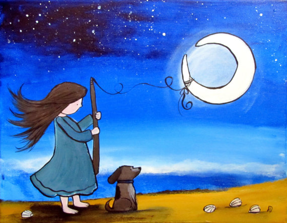 Original Nursery Art Whimsical Girl Catching Moon Beach Starry Sky Acrylic Painting for Children Baby Storybook Playroom Artwork by andralynn