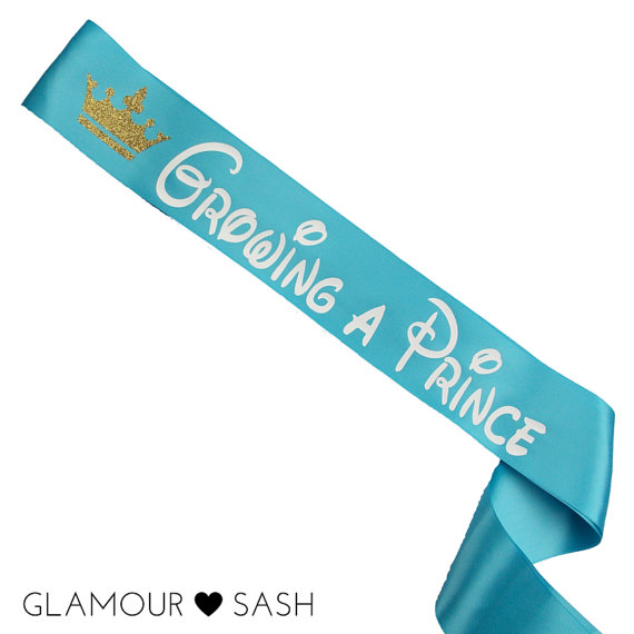 Growing A Prince Baby Shower Sash - Mommy To Be Sash -Baby Shower Gift - Baby Shower Favor - Prince Themed - Baby Boy - Nursery Accessory by GlamourSash