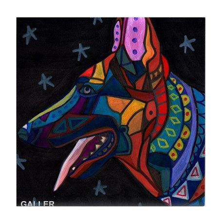 German Shepherds art Tile Ceramic Coaster Mexican Folk Art Print of painting by Heather Galler Dog by HeatherGallerArt
