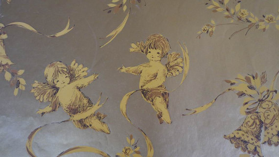 Vintage 1960s Gift Wrap Wedding Wrapping Paper Cherubs & Wedding Bells Kitschy Gold Print Funny Wedding Gift Wrap 1 sheet by PlanetTrout