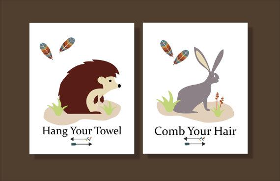 Amazing Woodland Creatures, Hedgehog, Printable Wall Art, Fox, Teepee, Raccoon, Bathroom  Decor  File Download By FieldandFlower