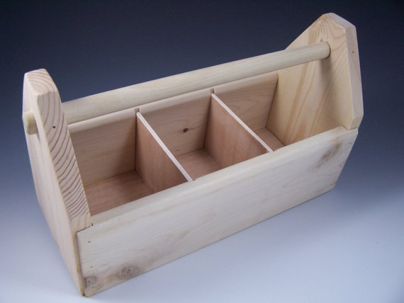 Wooden Toolbox, Art Caddy, Supplies Organizer with dividers made from pine by birchleafdesigns
