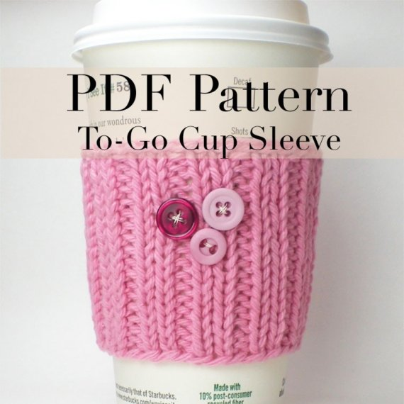Pdf Knitting Pattern Coffee Cup Cozy Coffee Cup Sleeve 1 With