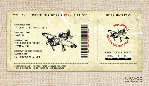 Airplane Birthday Invitation Airplane Boarding Pass Invitation