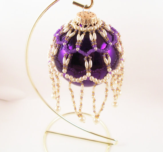 Pearl Ornament Cover Pattern, Beading Tutorial in PDF by zaneymay
