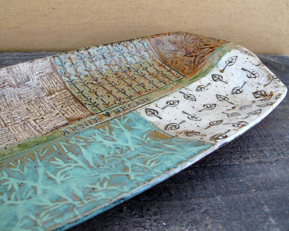 Personalized Wedding Platter - Custom - Earthy - Pastel - Nature - Leaves by LaPellaPottery