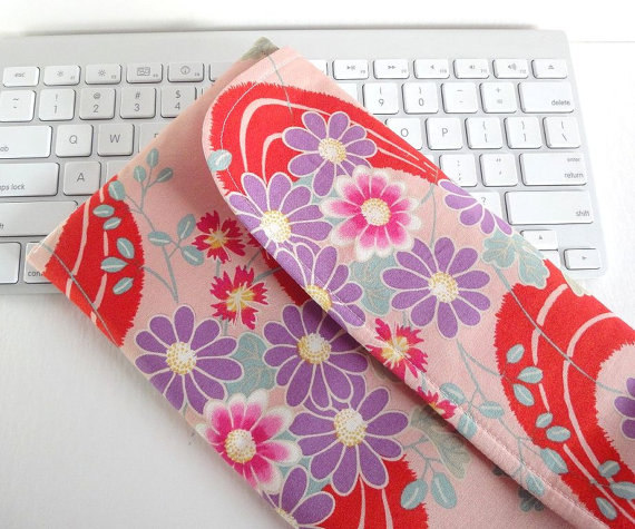 Apple Wireless Keyboard Sleeve Japanese Gadget Case Kimono Clutch Kimono pattern fabric chrysanthemum pink by MofLeema