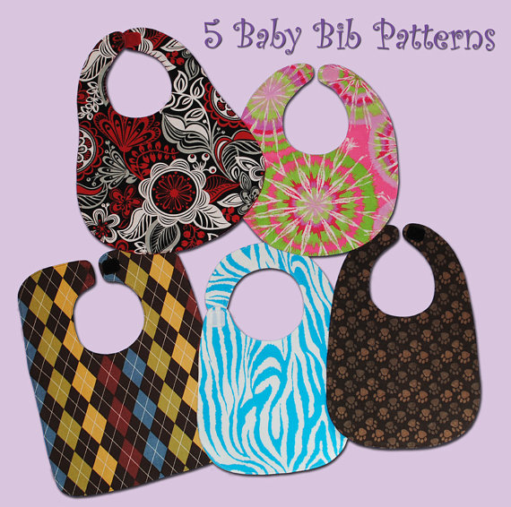 5 BASIC BABY Bibs - PDF Pattern by SewTuti