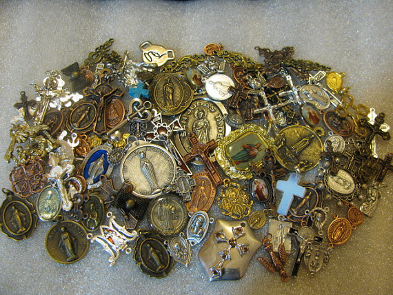 50 MEDALS HUGE Religious Medal LOT rosary making, charm bracelet, jewelry, Our Lady & St by alexandracadena
