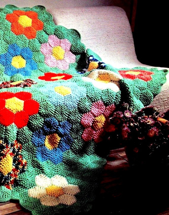 INSTANT DOWNLOAD PDF Vintage Crochet Pattern for Grandmother's Flower Garden Afghan Throw Blanket Retro by PastPerfectPatterns